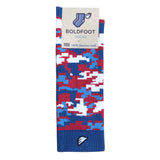 Digital Camo Camouflage Digicamo Quality Fun Unique Crazy Dress Casual Socks Royal Blue Red Whie Sky Made in America USA Packaging