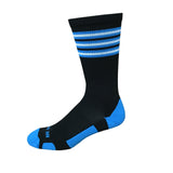 Rookie - Black & Electric Blue. American Made Unique Athletic Socks