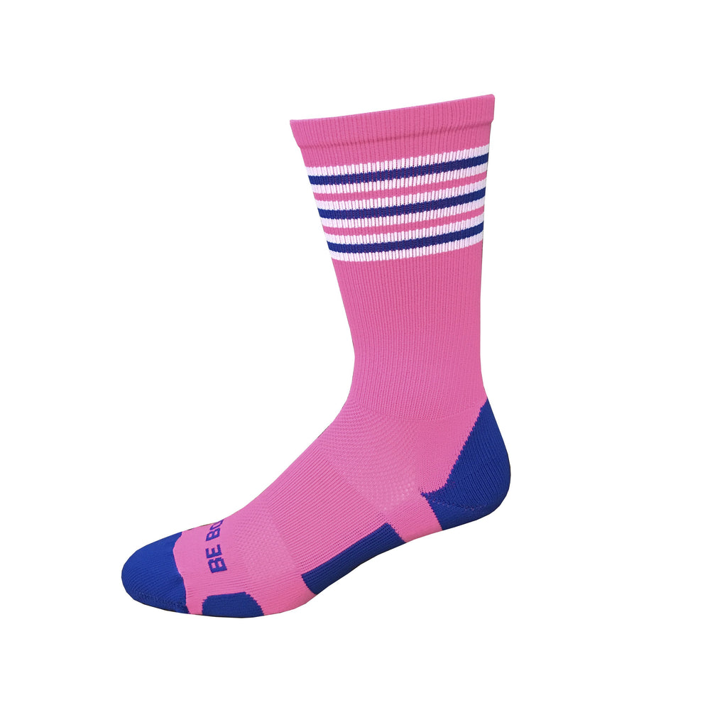 Rookie - Hot Pink & Royal Blue. American Made Unique Athletic Socks