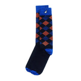 Scotsman - Black, Royal Blue & Orange. American Made Dress / Casual Argyle Socks