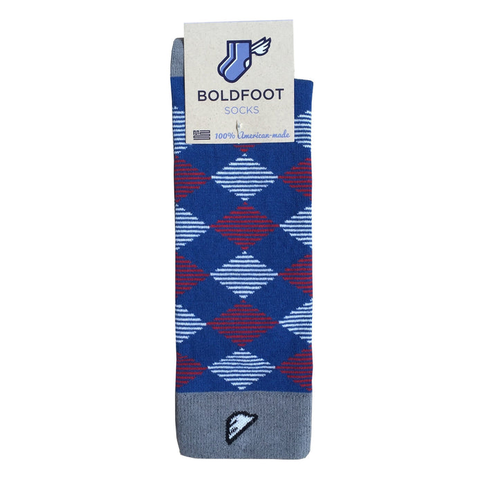USA Argyle Quality Fun Unique Crazy Dress Casual Socks Red White Royal Blue Grey in America