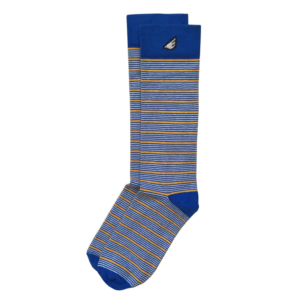 Warriors Michigan WVU Quality Fun Unique Crazy Stripe Dress Casual Socks Royal Blue Gold White Made in America USA