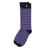 Quality Fun Unique Crazy Stripe Dress Casual Socks Purple Black White Made in America USA