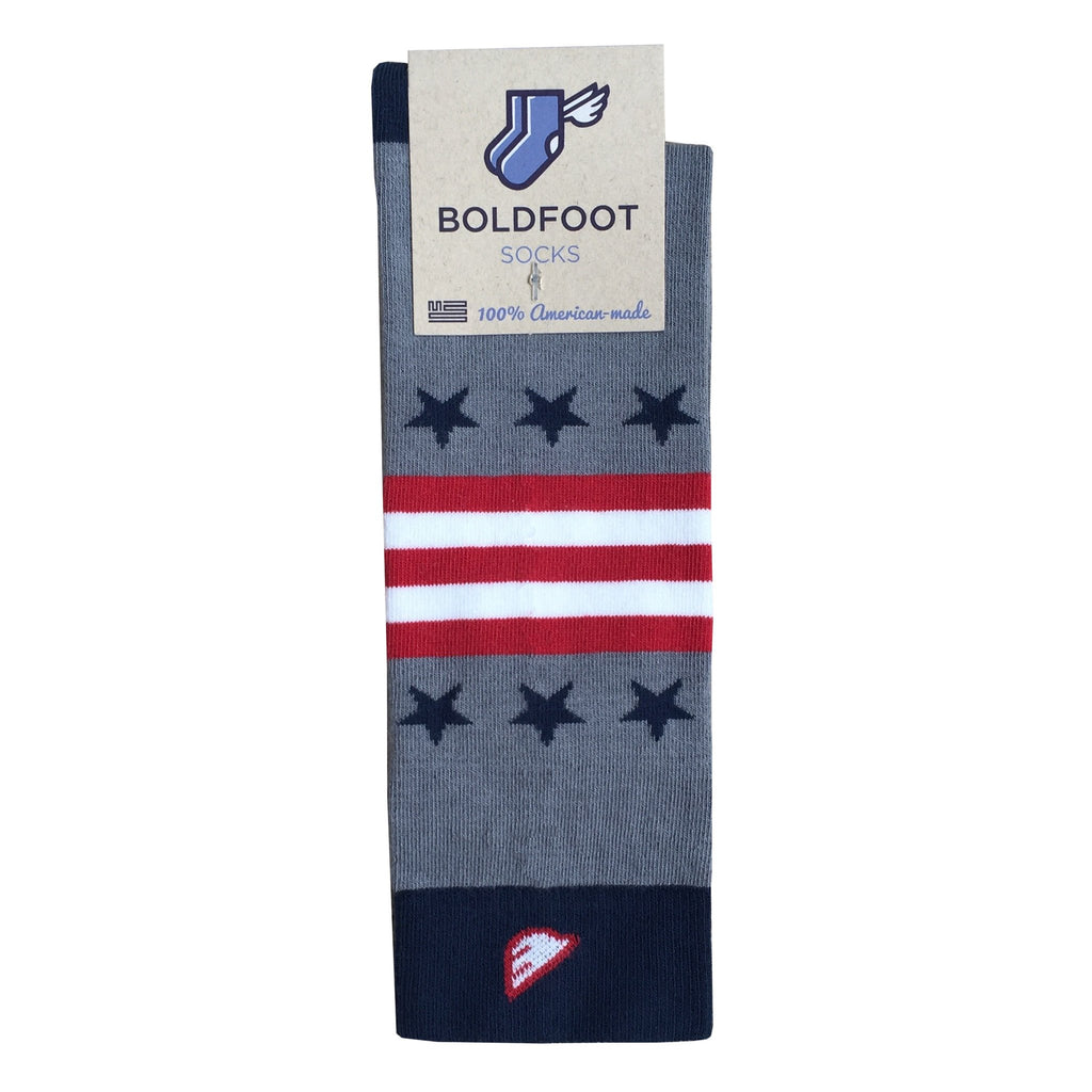 Quality Fun Unique Crazy Stars & Stripes Dress Casual Socks Light Grey Navy Red White Made in America USA Flag Packaging