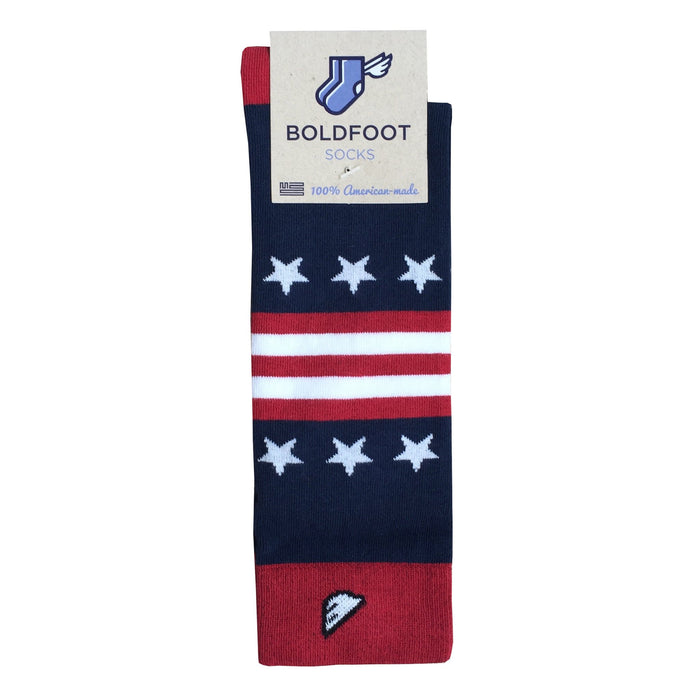 New England Patriots Quality Fun Unique Crazy Stars & Stripes Dress Casual Socks Navy Red White Made in America USA Flag Packaging