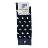 Men's Fun Unique Crazy Lightning Bolt Polka Dot Dress Casual Socks Black Grey White Made in America USA Packaging