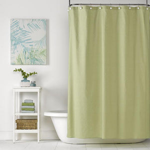 Spring Green Linen Shower Curtain