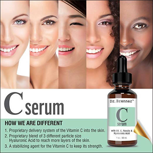 Vitamin C Serum 20% Pure L-Ascorbic Acid, Ferulic Acid, Vitamin E and Hyaluronic Acid for Face and Eyes 1oz. by Dr. Brenner