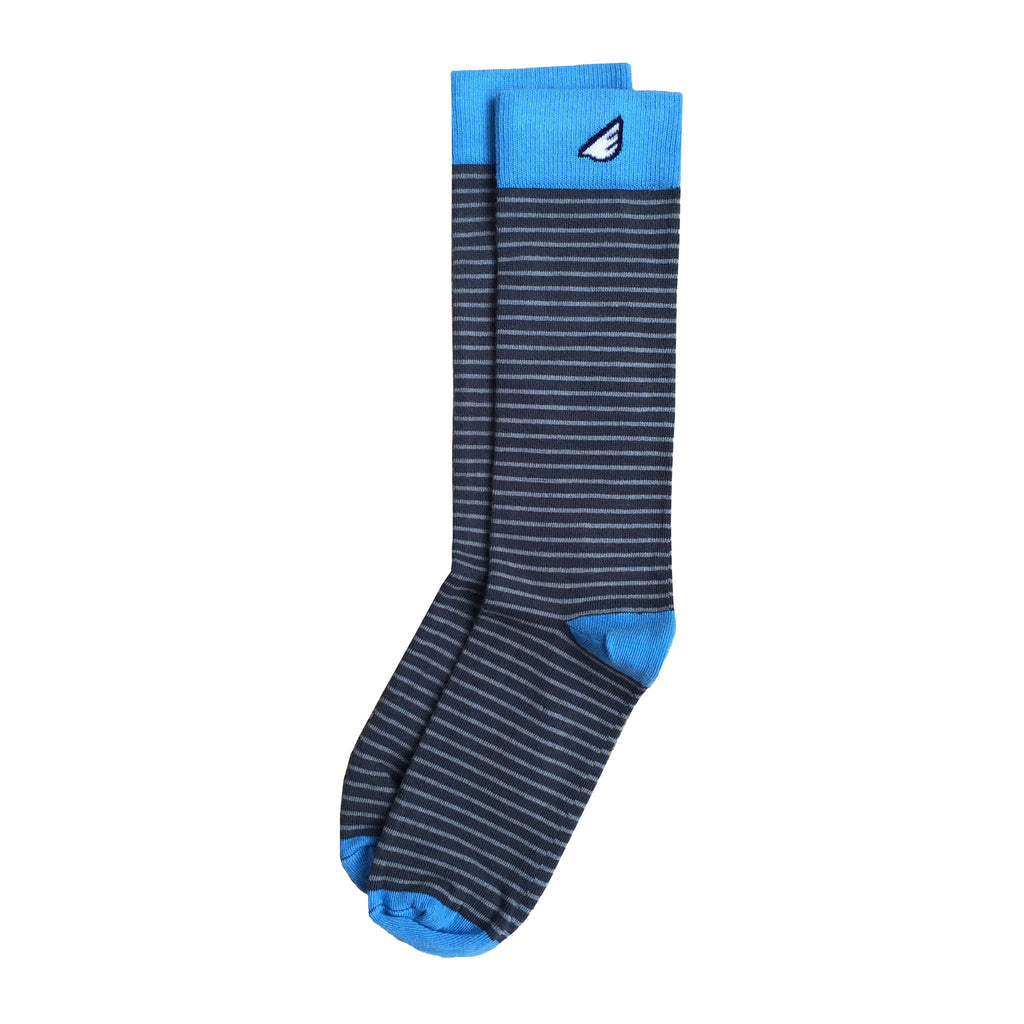 Men's Fun Unique Crazy Stripe Dress Casual Socks Dark Grey Light Grey Made in America USA