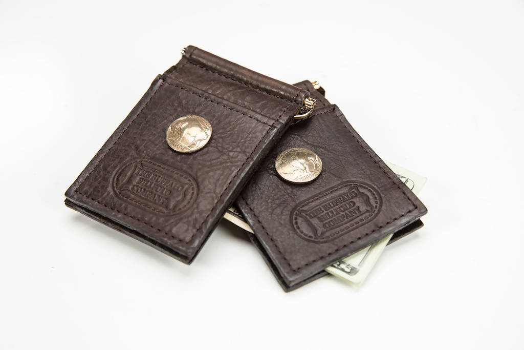 Buffalo Nickel Money Clip Wallet - Bison Leather