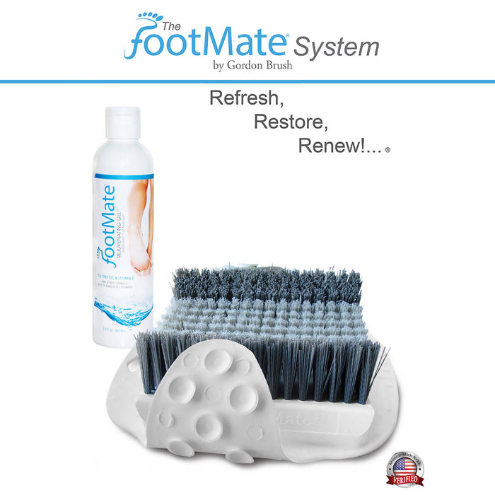 The FootMate® System Foot Massager & Scrubber — White/Gray