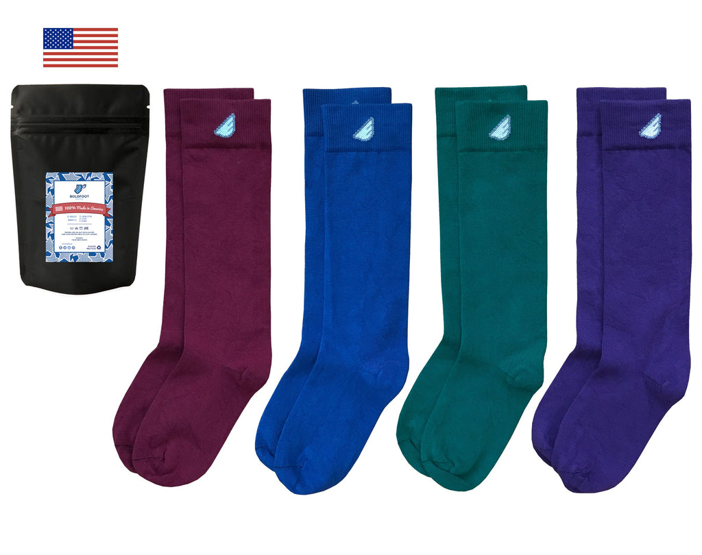 Colorful Variety 4-Pack - Premium Solids. American Made Dress Socks
