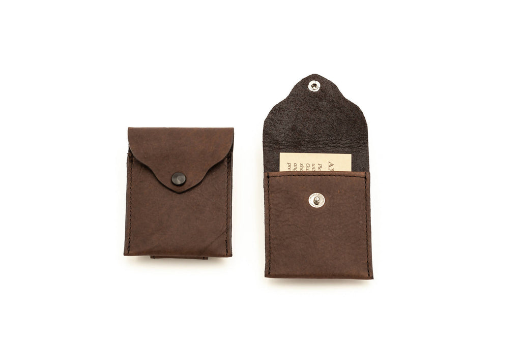 Magnetic Money Clip Wallet - Bison Leather - Brown