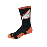 Wingman - Black & Orange. American Made Unique Athletic Socks