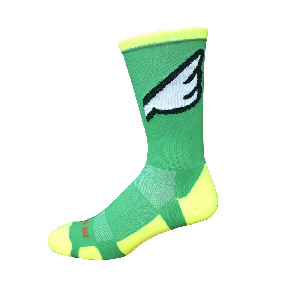 Wingman - Lime Green & Neon Yellow. American Made Unique Athletic Socks