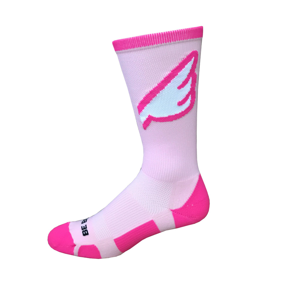 Wingman - Pink. American Made Unique Athletic Socks