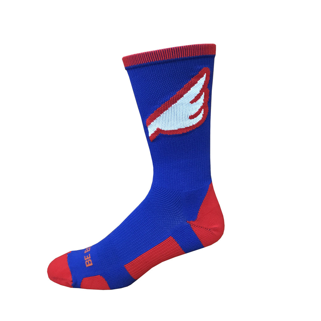 Wingman - Royal Blue & Red. American Made Unique Athletic Socks