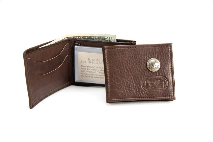 Buffalo Nickel Bifold Wallet - Bison Leather - Brown