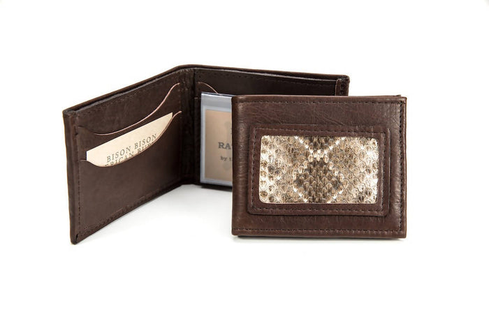 Rattlesnake Bifold Wallet - Bison Leather - Brown
