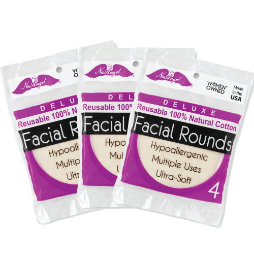 Reusable 100% Cotton Facial Rounds - 12 count