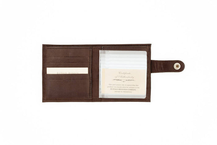 Snap Closure Wallet - Bison Leather - Brown