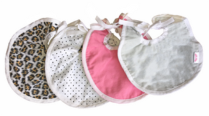 NuAngel Baby Girl Reversible Bib - 3 Pack (Colors will Vary)