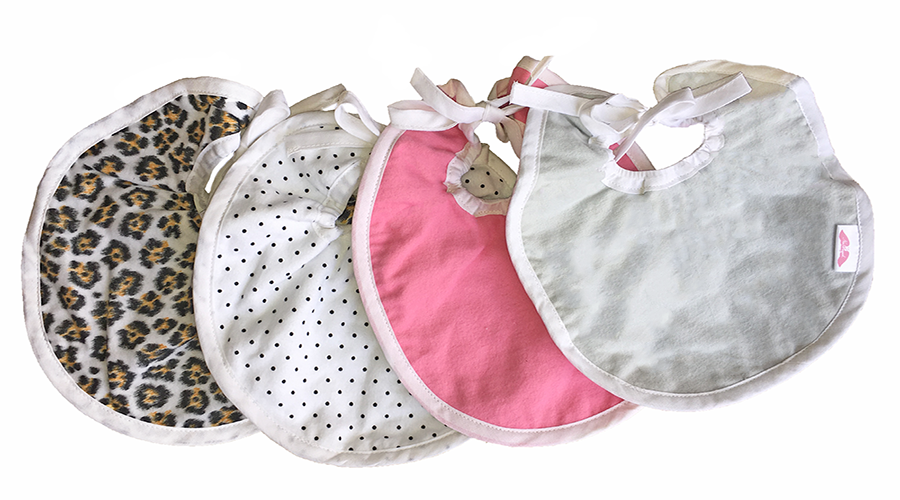 3 pack baby girl bib set