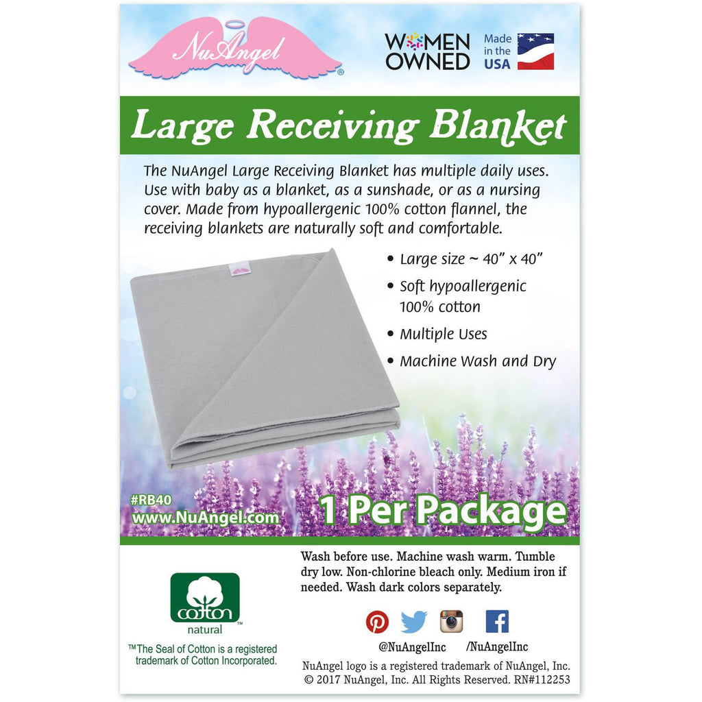 "NuAngel Large Receiving Blanket - Natural Cotton 40"" x 40"""