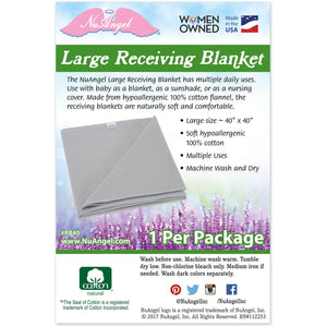 "NuAngel Large Receiving Blanket - White 40"" x 40"""