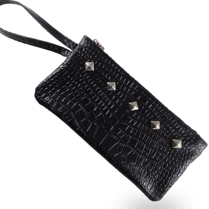 Leather Wristlet - Black Snake Skin
