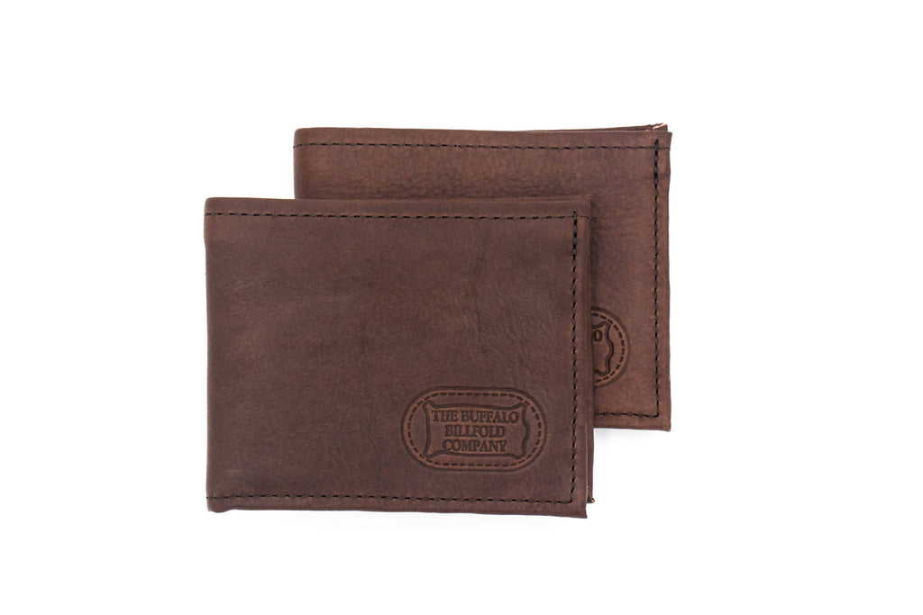 Buffalo Billfold - Bison Leather Bifold Wallet - Brown
