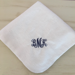 monogram personalized baby receiving blanket