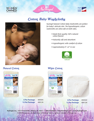 Natural Cotton Baby Washcloths - 12 Per Package
