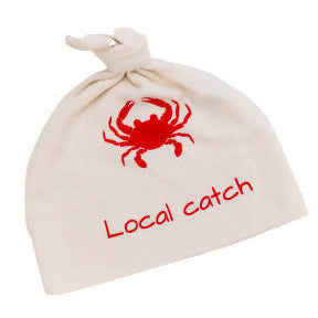 Gift set/ organic hat and one romper. Crab. Local catch