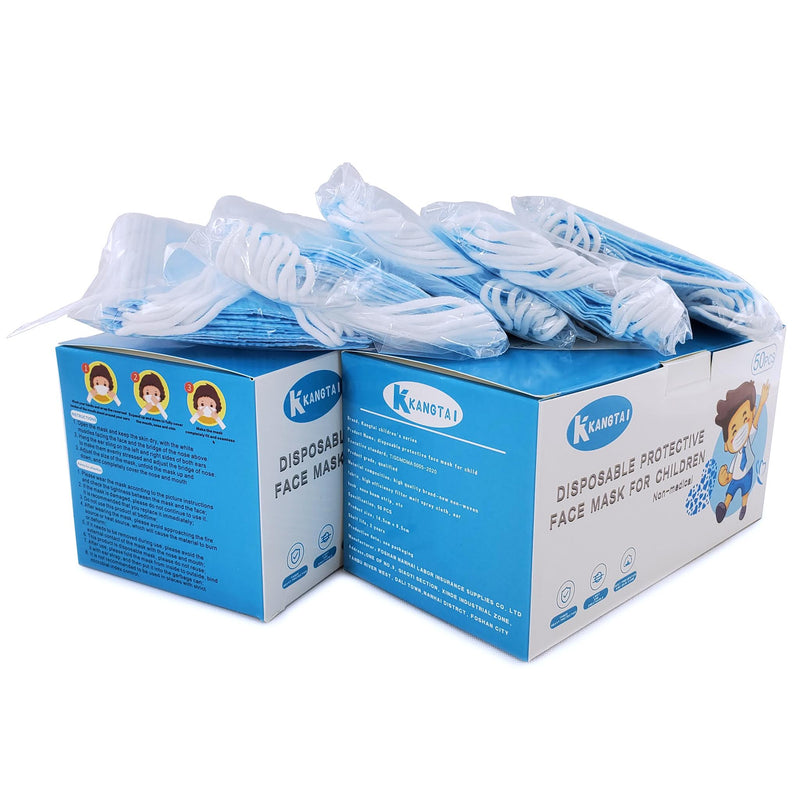 3-ply Disposable Earloop Face Mask for Children, Blue, box of 50 - People's Herbs