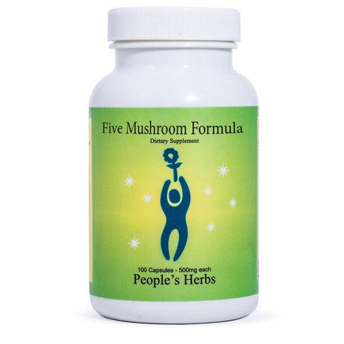 Five Mushroom Formula (100caps, 250caps) - herbal formula - mushrooms - People's Herbs