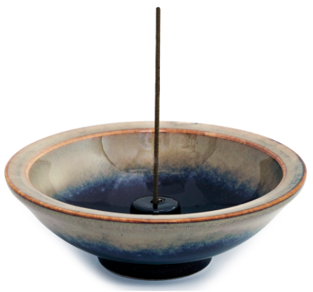 Incense holder, mountain mist, wheel-shaped, hand-thrown - People's Herbs