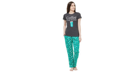 Lacely's Coffee Mug Printed T-shirt and Pyjama for Women