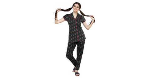 Lacely's Leaves Printed Shirt and Pyjamas for Women