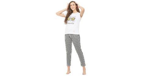 Lacely's Savage Cat Printed T-shirt and Striped Pyjama for Women