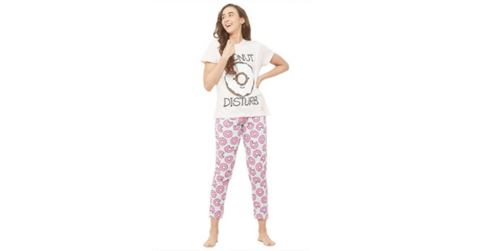 Lacely's Donut Printed T-shirt and Pyjamas for Women