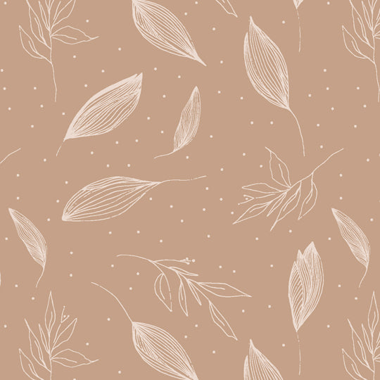 brown, leaves, autumn, beige, ink, delicate, boho