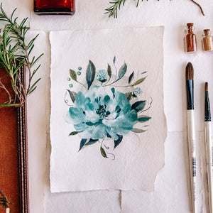 Blue Peony - Original A5 watercolour