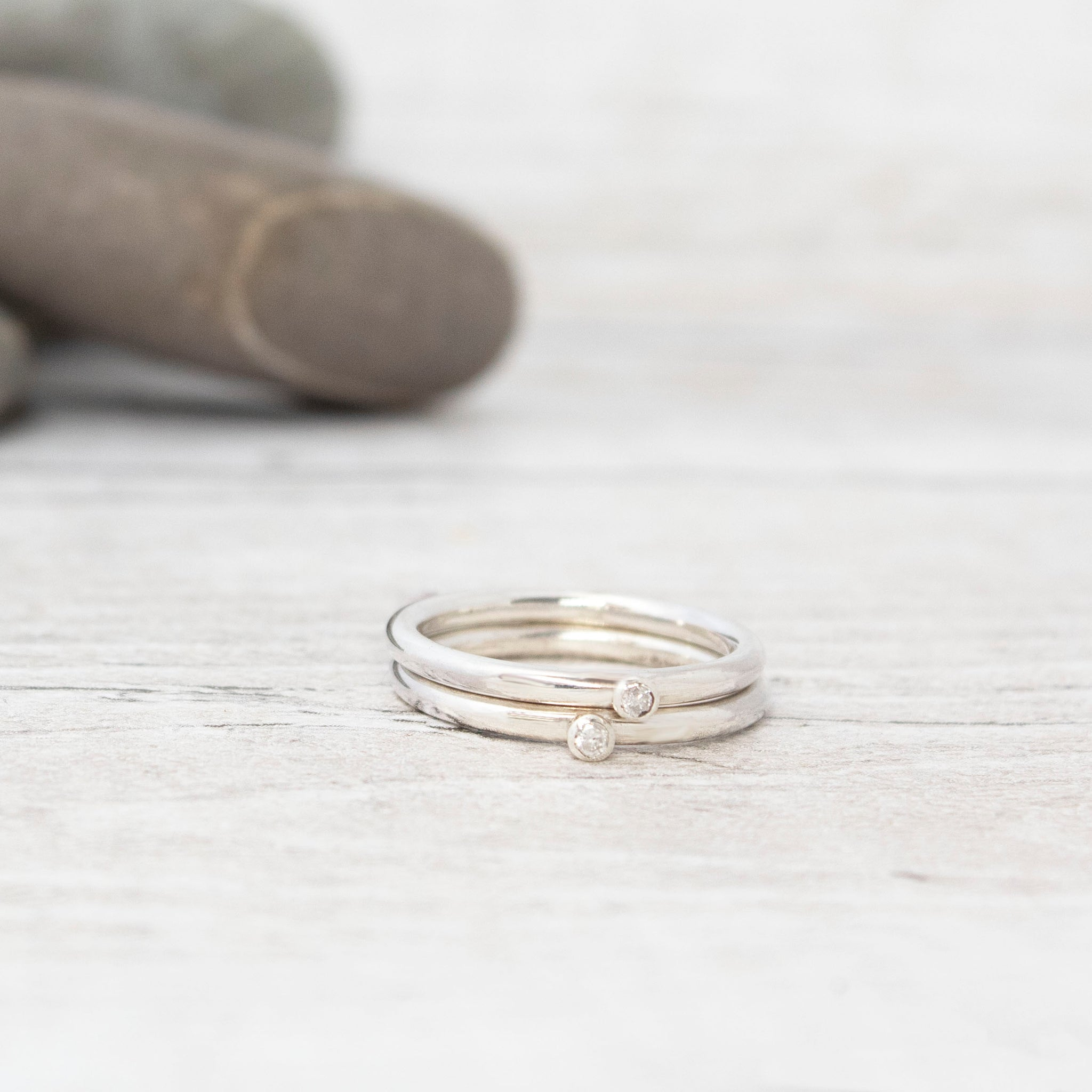 Diamond Stacking Silver Rings