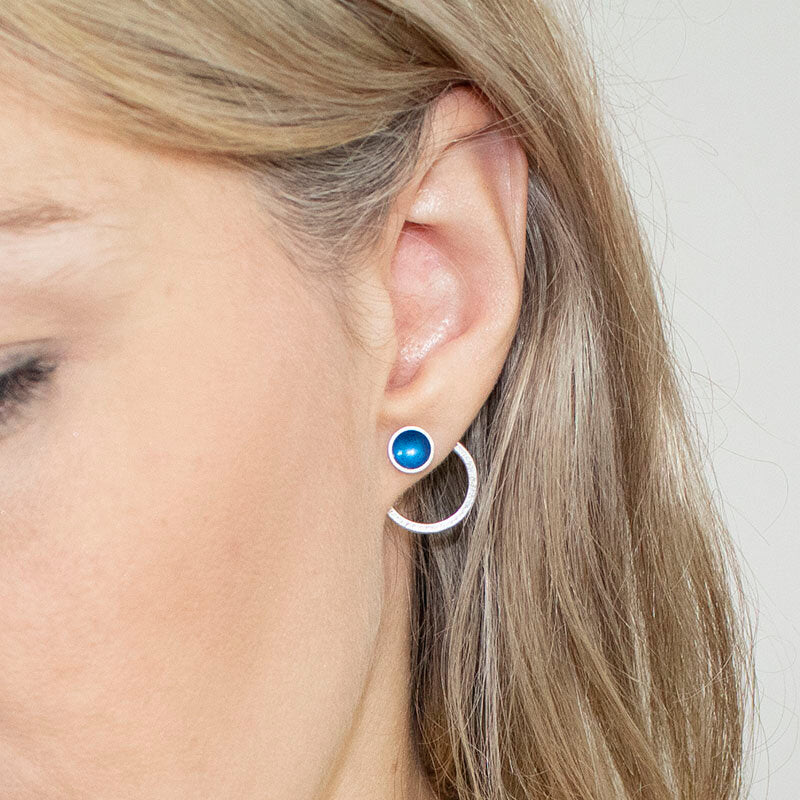 Halo Silver and Enamel Interchangeable Hoop Stud (16 colours available)
