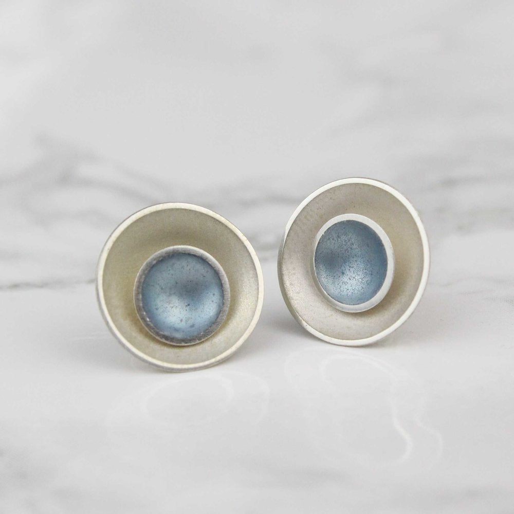 Halo Two-in-One Silver and Enamel Stud Earrings - Large - (16 colours available)