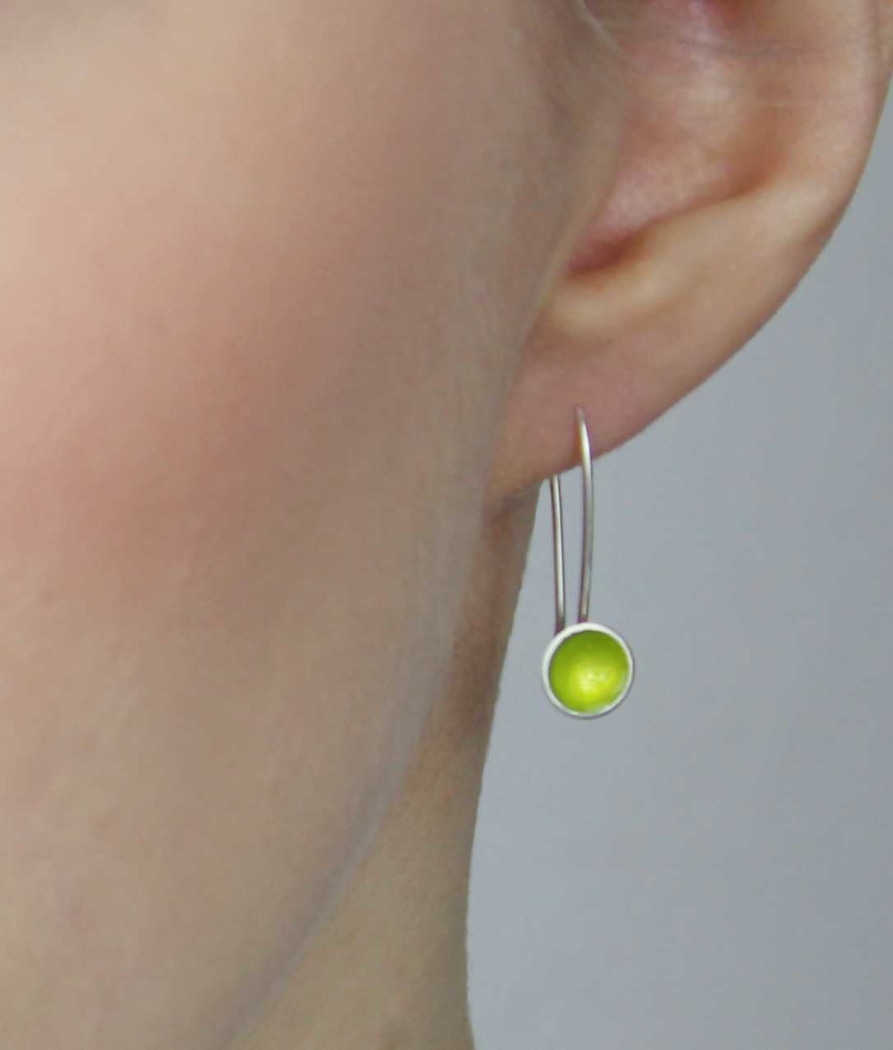 Halo Mini Drop Silver and Enamel Earring (16 colour options available)