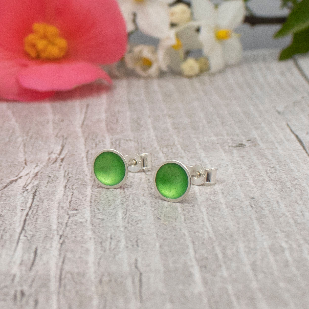 Halo Midi Silver and Enamel Stud Earring (16 colours available)