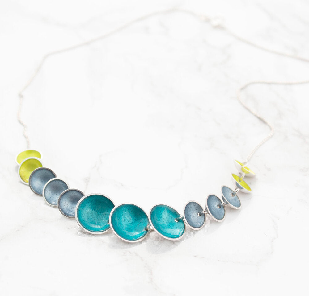 Halo Silver and Enamel Link Necklace (more colour options available)