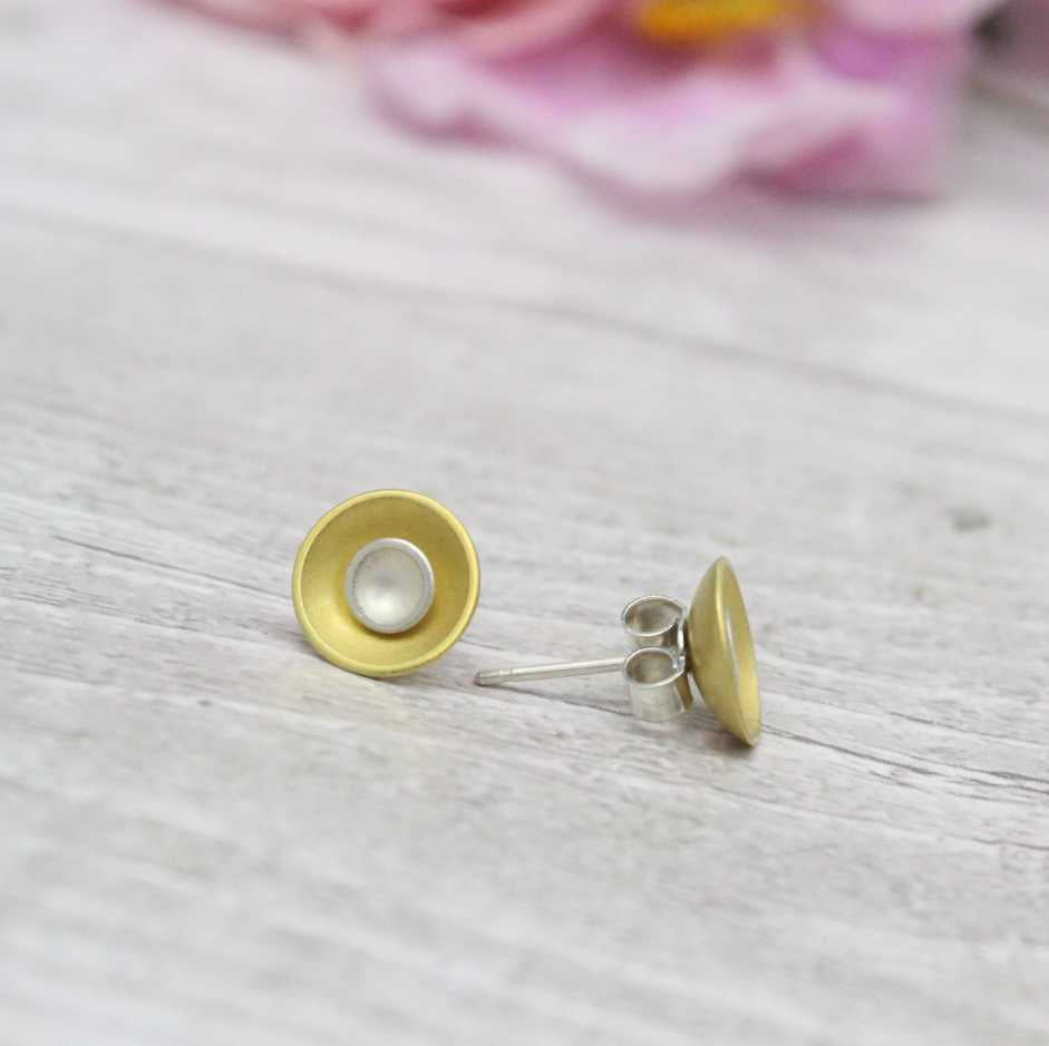 Halo Two-in-One Silver Stud Earrings - Small - Silver and Gold